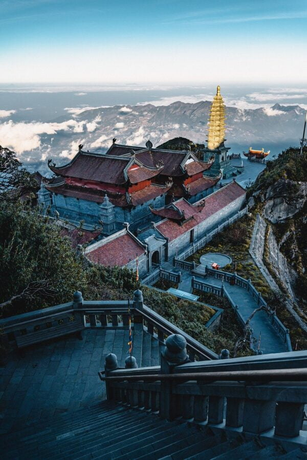 temple, stairs, mountains